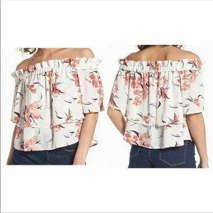 Leith Off Shoulder White Coral Blouse Floral XS
